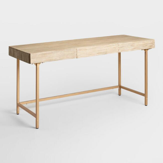 Driftwood and Gold Metal Cristela Desk with Drawers