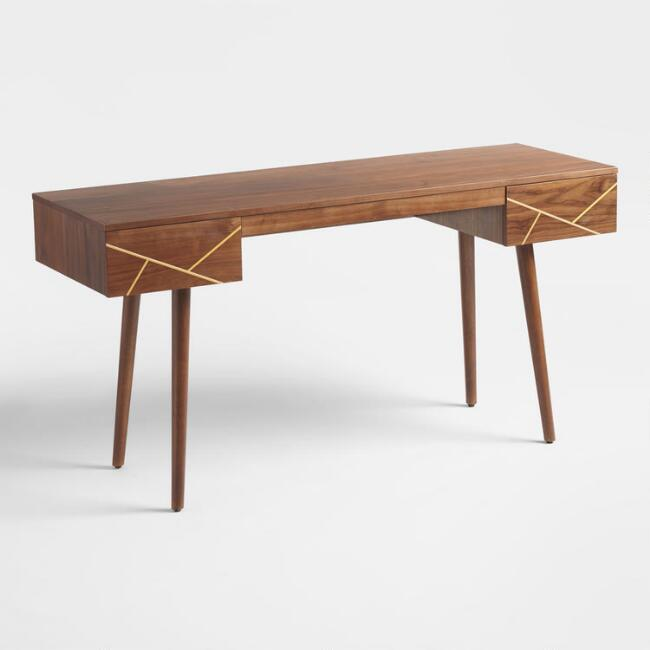 Walnut and Brass Inlay Dustin Desk with Drawers