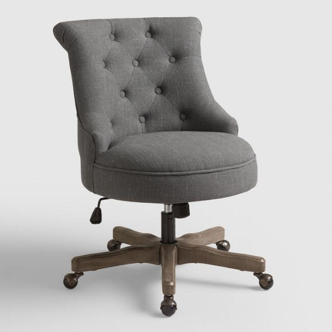 Charcoal Gray Elsie Upholstered Office Chair