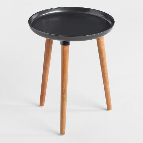 Round Black Metal And Wood Ennis Accent Table Previous V3 V1