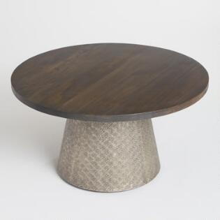 round living room chairs. Round Wood and Embossed Metal Kiran Coffee Table Living Room Furniture  World Market