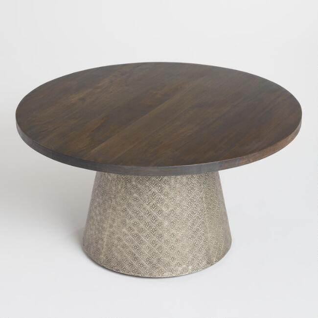 Round Wood and Embossed Metal Kiran Coffee Table