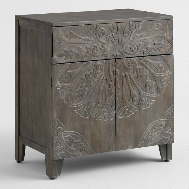 Gray Floral Medallion Carved Tara Cabinet