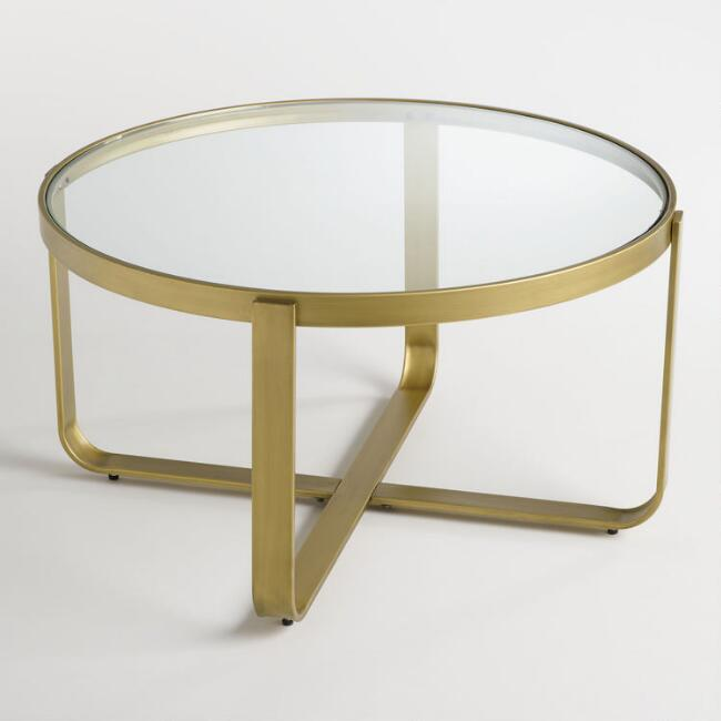 Cameron Coffee Table: Round Glass And Metal Ilene Coffee Table