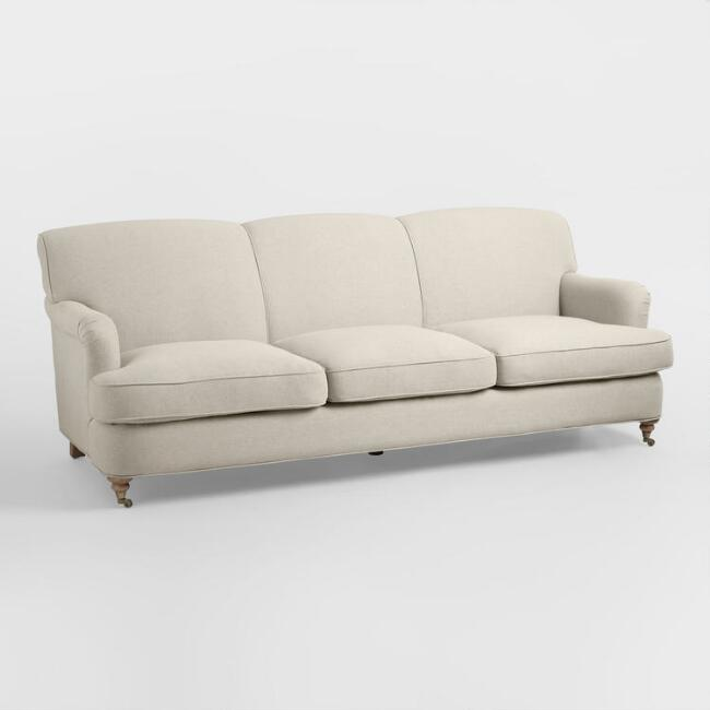 Oatmeal English Roll Arm Shelton Sofa World Market