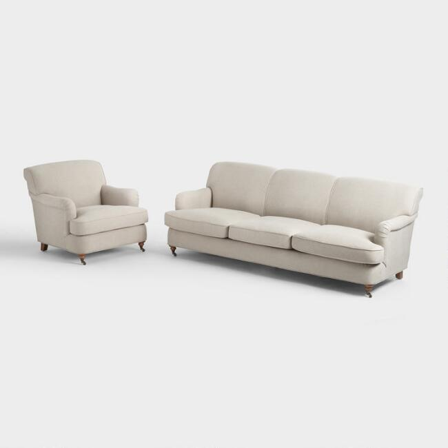 Oatmeal English Roll Arm Shelton Seating Collection