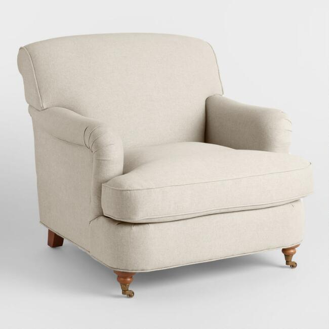 Oatmeal English Roll Arm Shelton Chair