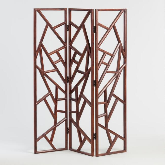 Hand Carved Wood Abstract Rigby Screen