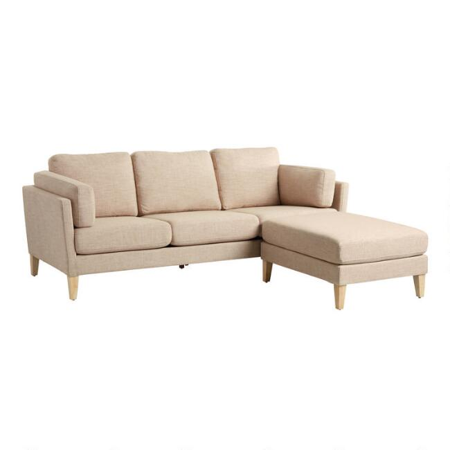 WM Oatmeal Woven Noelle Sofa And Ottoman