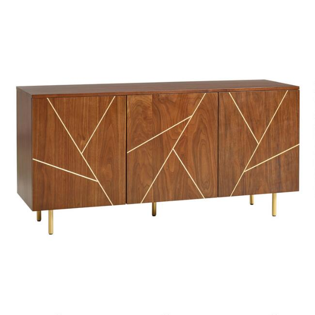 Walnut and Brass Inlay Dustin Cabinet