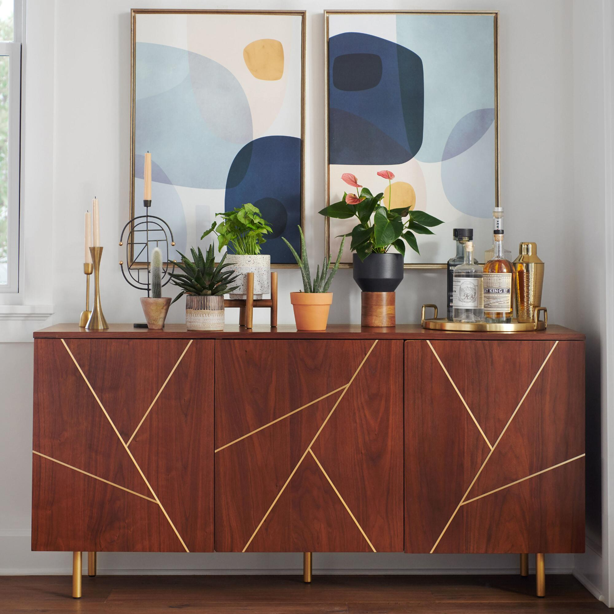 Wood and Metal Inlay Dustin Cabinet | World Market