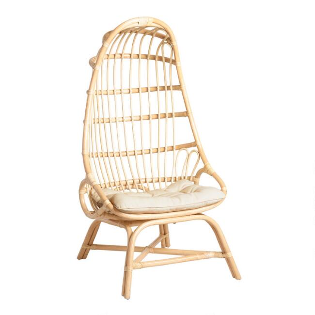 Natural Rattan Fallon Cocoon Chair With Cushion World Market