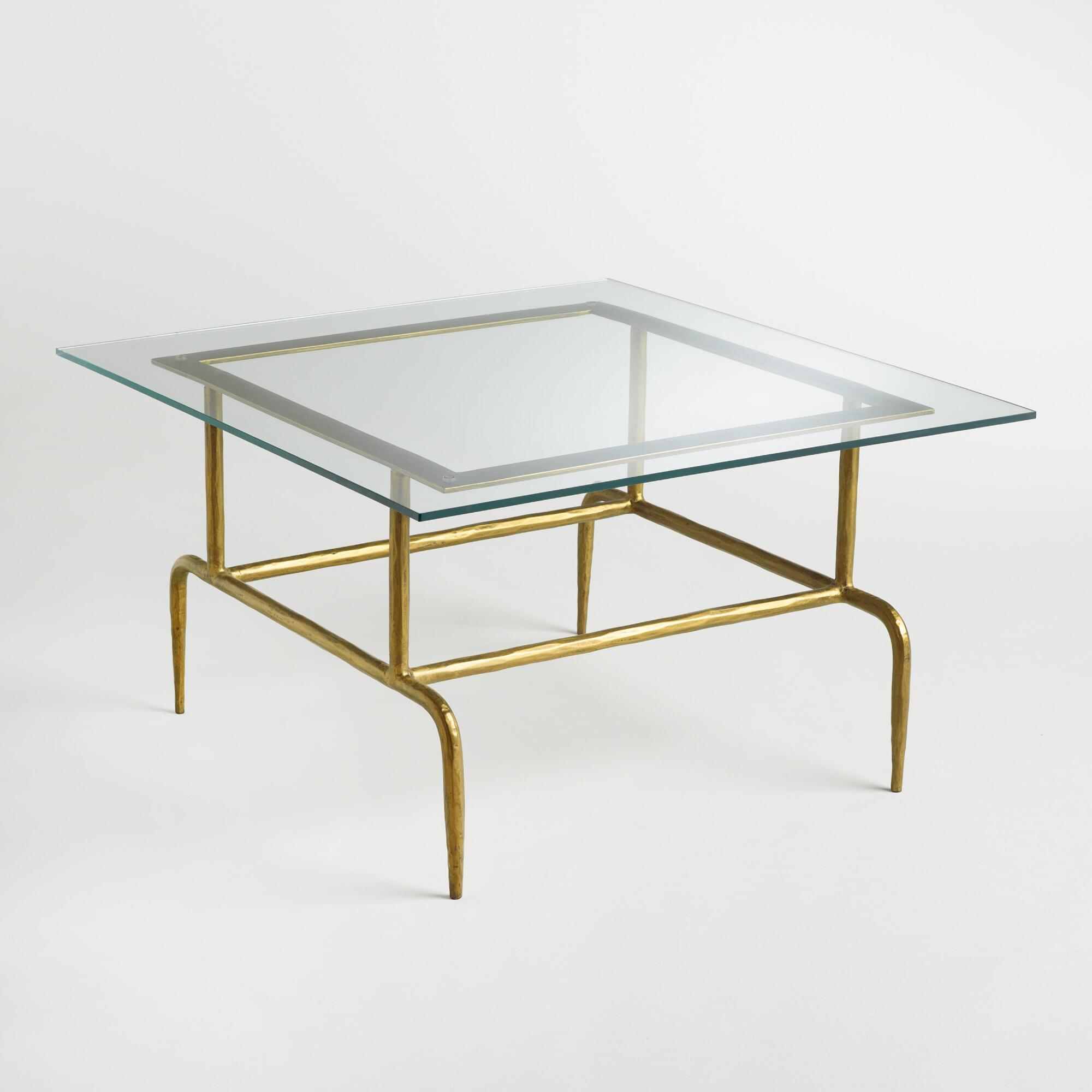 Glass and Metal Square Lorea Coffee Table: Gold by World Market