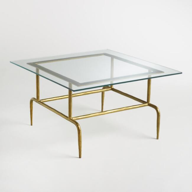 Glass and Metal Square Lorea Coffee Table