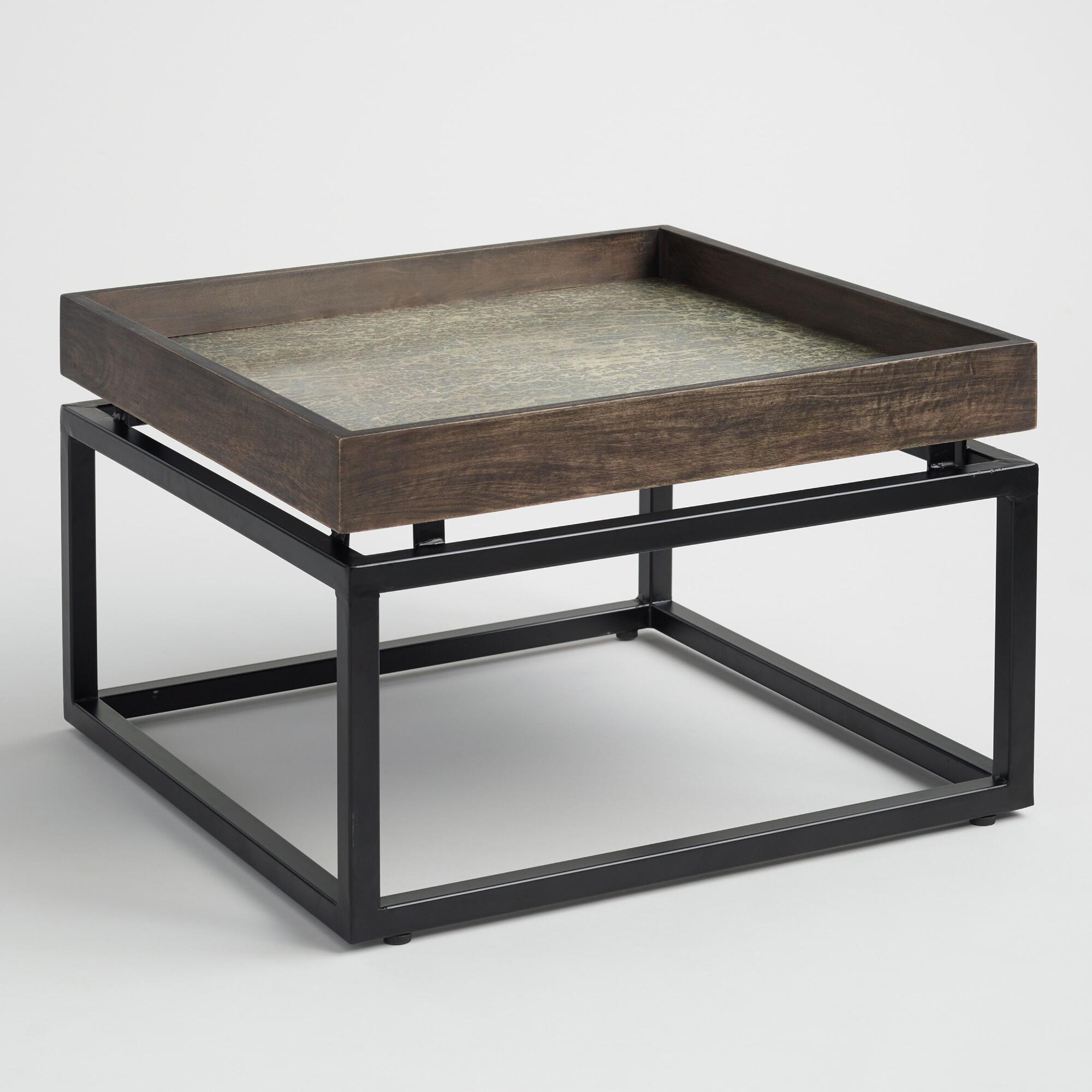 Square Tray Top Jayla Coffee Table: Black/Brown - Metal  by World Market