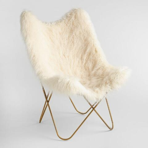 Ivory Flokati Cushioned Everly Butterfly Chair