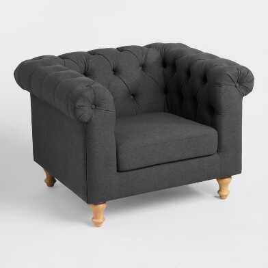 Charcoal Gray Quentin Chesterfield Chair