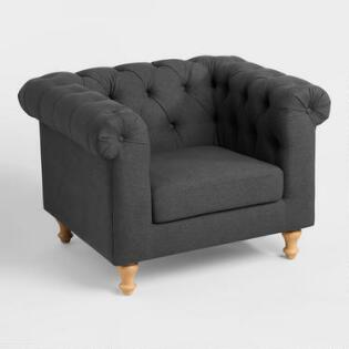 living room chair. Charcoal Gray Quentin Chesterfield Chair Accent Living Room Chairs  Arm Slipper World Market