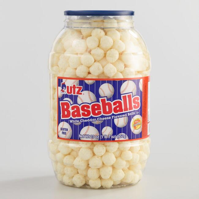 Utz Baseball White Cheddar Cheese Puff Party Barrel