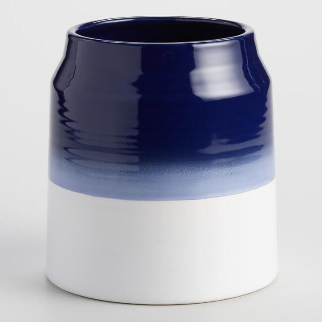 Indigo Blue Ombre Ceramic Utensil Holder