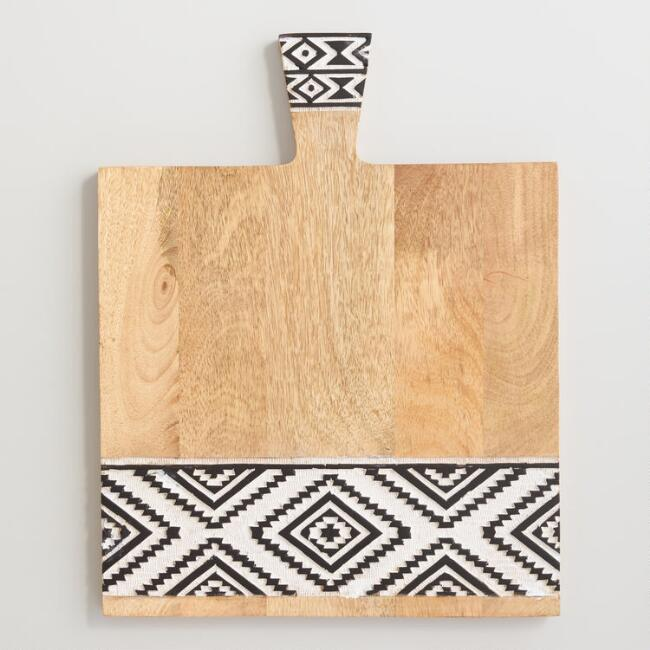 Square Black and White Geometric Carved Wood Cutting Board