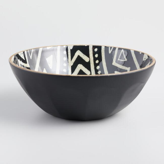 Large Black And White Folk Art Enamel Wood Bowl