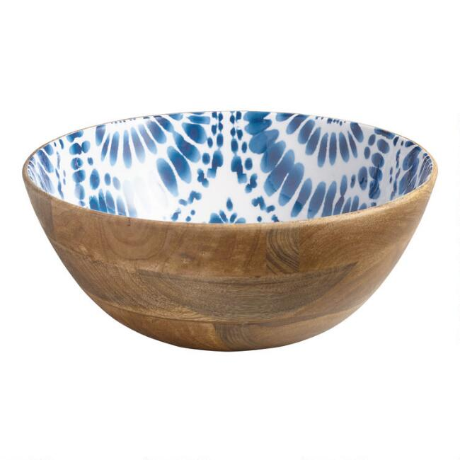 Large Indigo Blue Tie Dye Enamel Wood Bowl