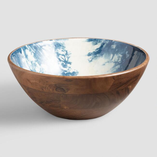 Indigo Blue Dynamic Enamel Wood Salad Bowl