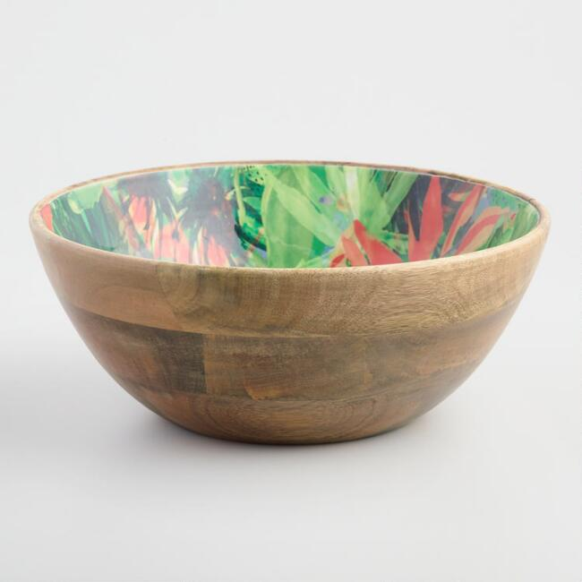 Large Tropical Enamel Wood Bowl