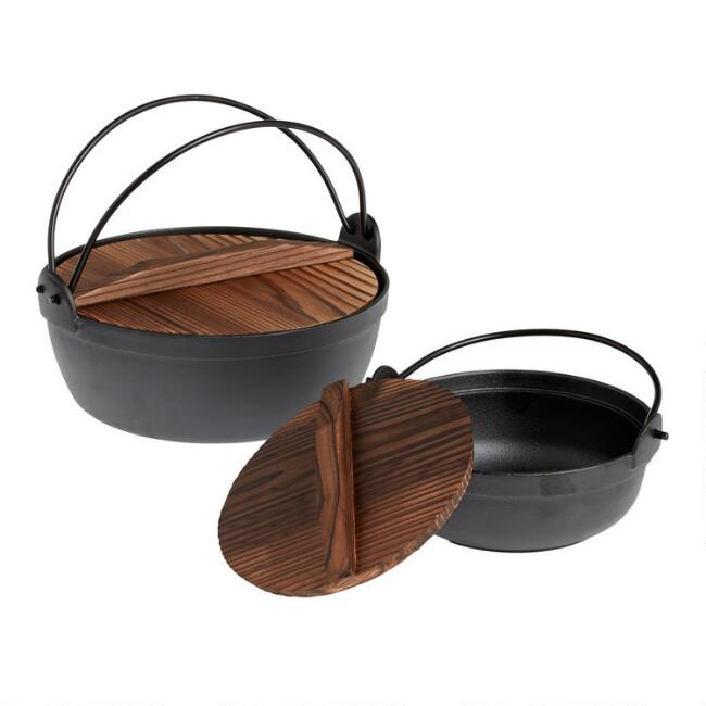 Small Cast Iron Hot Pot Noodle Bowl With Wood Lid