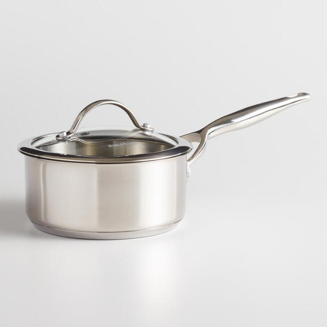 1.5 Quart Tri Ply Stainless Steel Saucepan With Glass Lid
