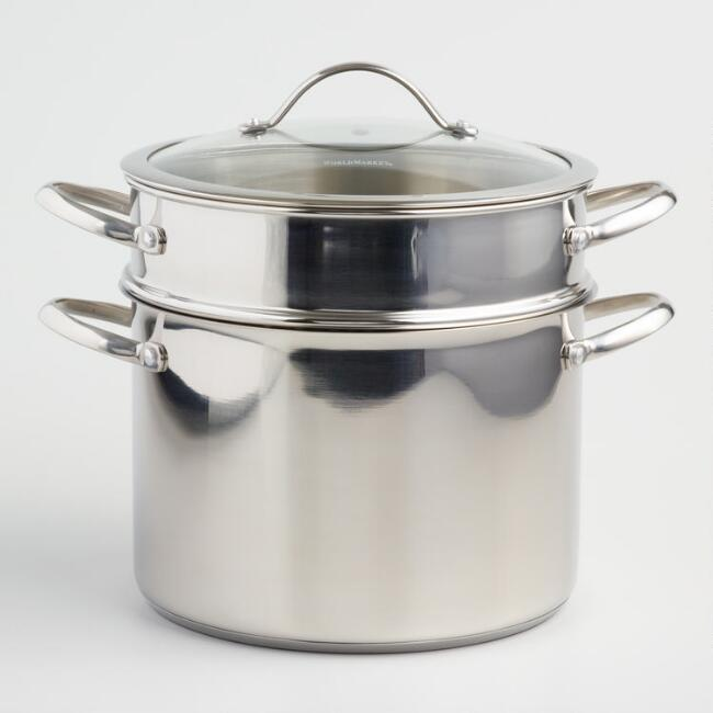 8 Quart Tri Ply Stainless Steel Pasta Pot With Glass Lid