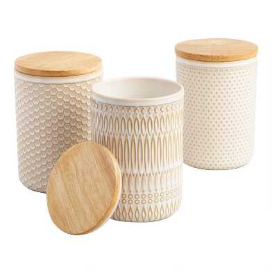 Textured Ceramic Storage Canisters with Wood Lids Set of 3