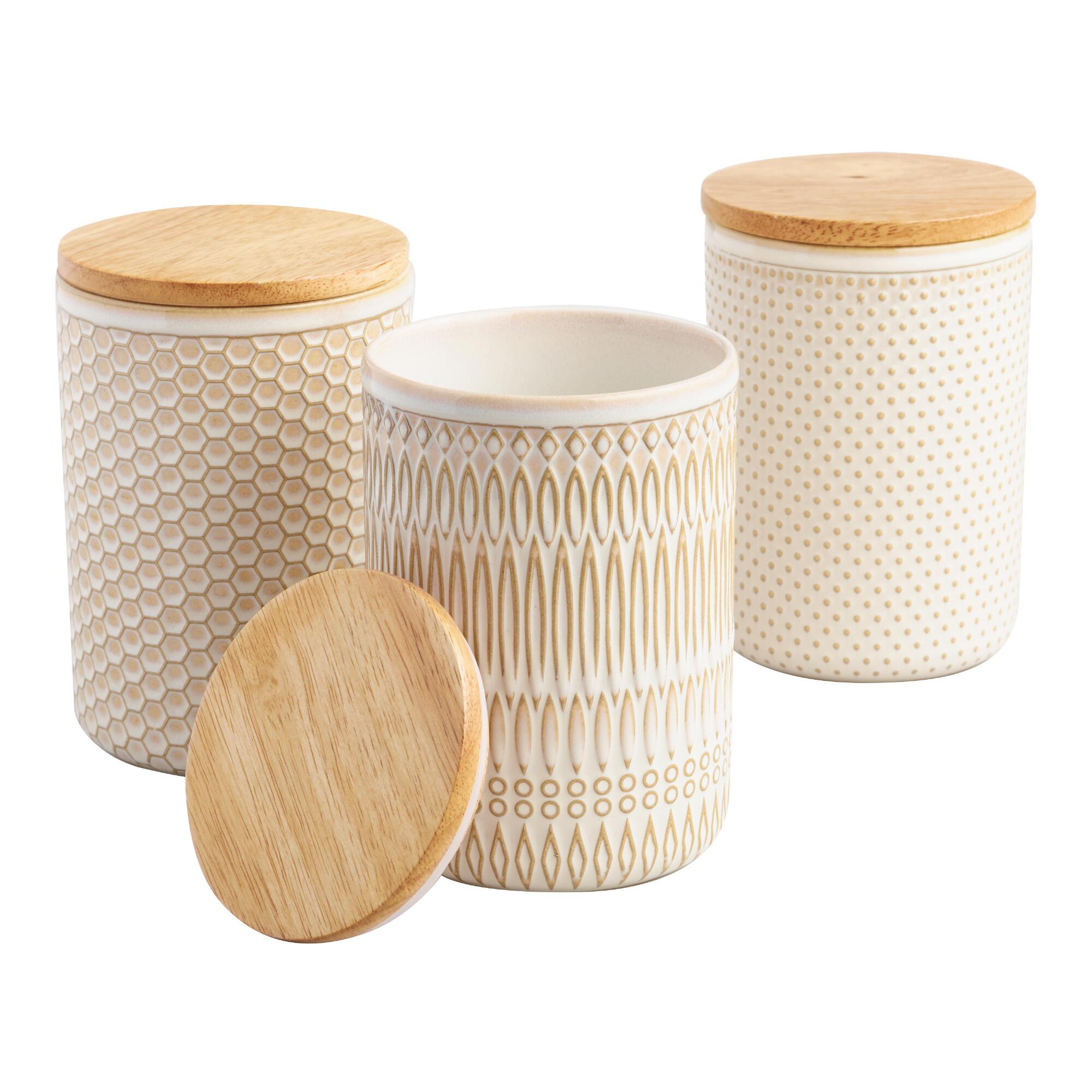 Textured Ceramic Storage Canisters with Wood Lids Set of 3 by World Market
