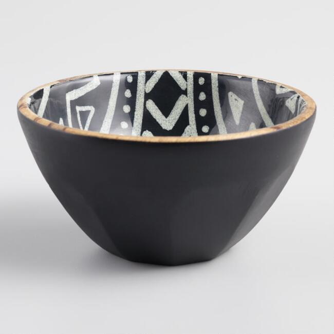 Black and White Folk Art Mango Wood Bowl