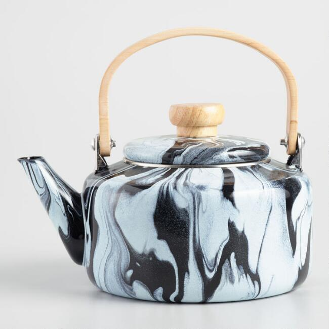 Black and White Marbled Enamel Kettle