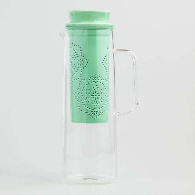 Cactus and Paisley Ceramic Tea Infuser Carafe