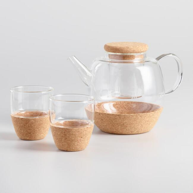 Glass and Cork 3 Piece Infuser Teapot and Teacup Set