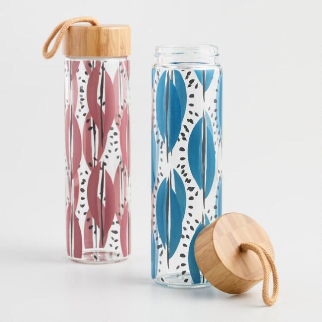 Glass Water Bottles with Wood Lids Set of 2
