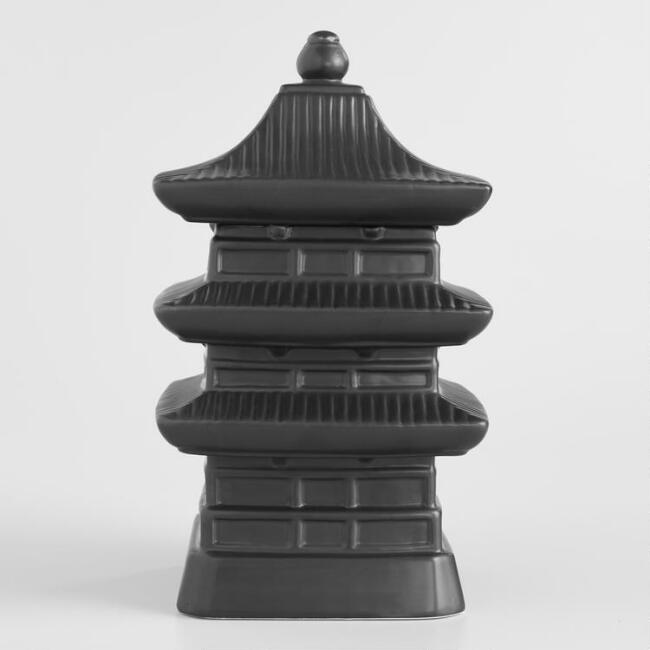 Black Ceramic Pagoda Cookie Jar