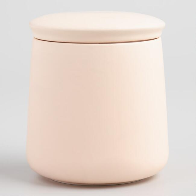 Medium Blush Pink Ceramic Storage Canister