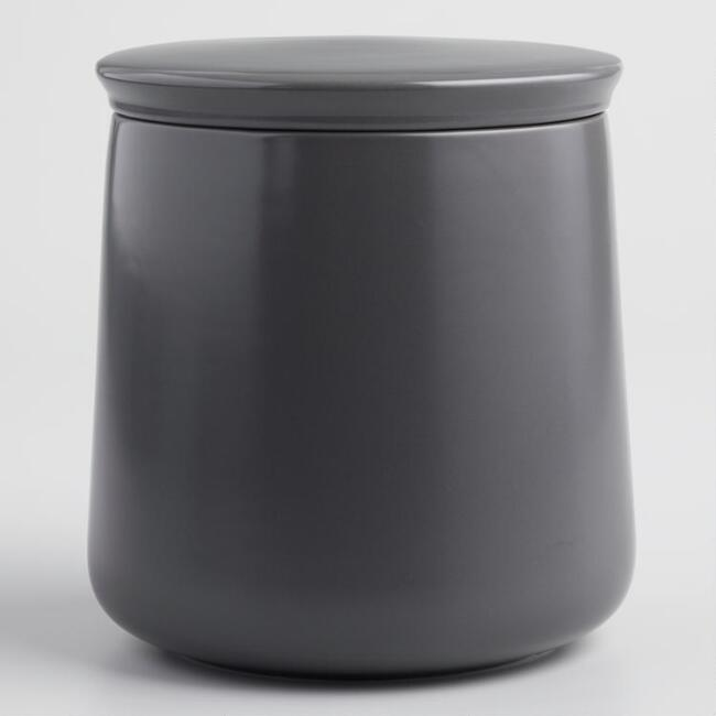 Large Dark Gray Ceramic Storage Canister