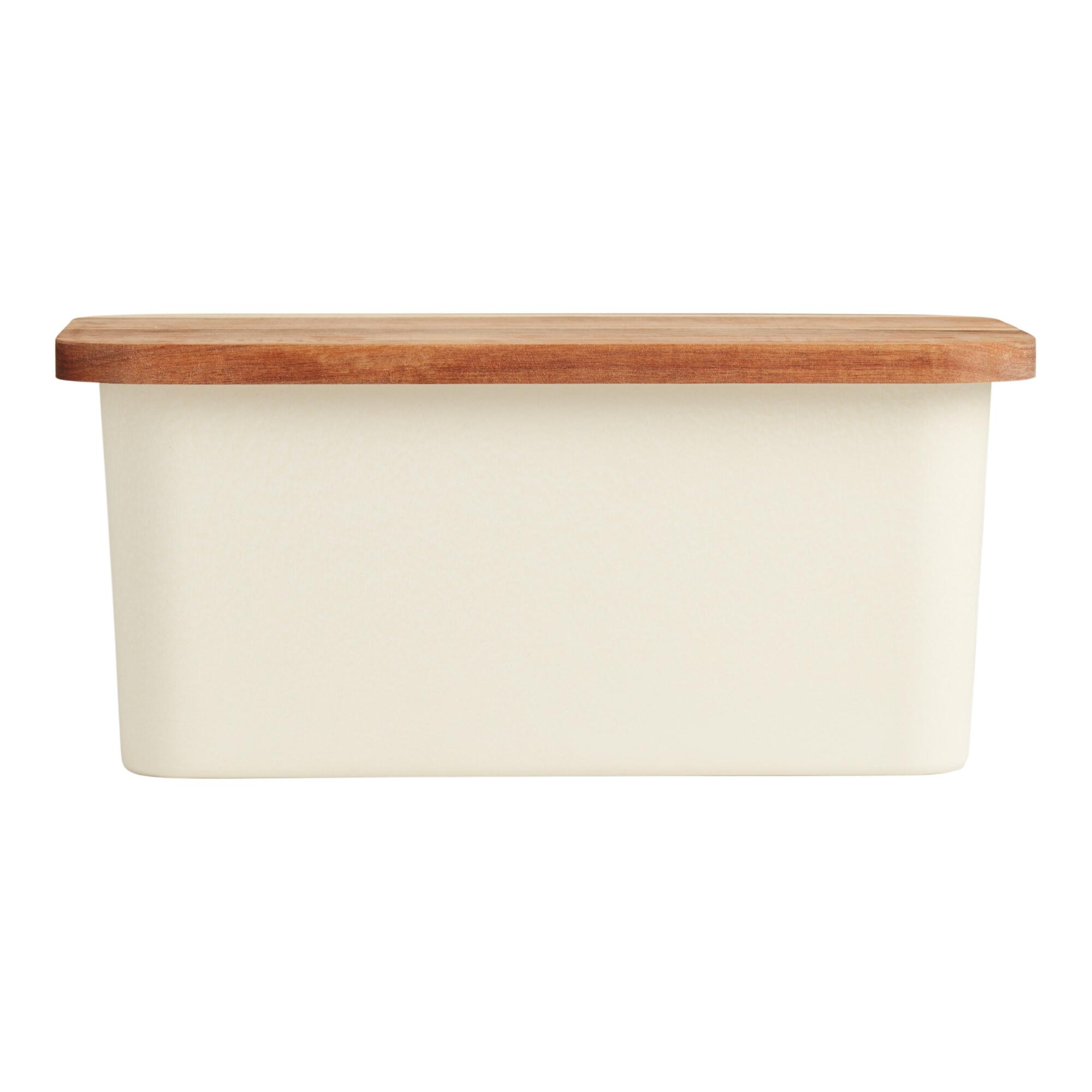 Bamboo Fiber Bread Storage Box with Wood Cutting Board Lid by World Market