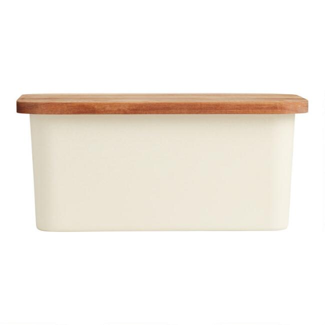 Bamboo Fiber Bread Storage Box with Wood Cutting Board Lid