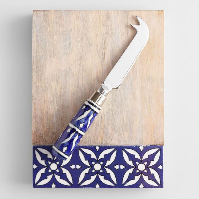 Blue Tile Mango Wood Cutting Board and Ceramic Knife Set