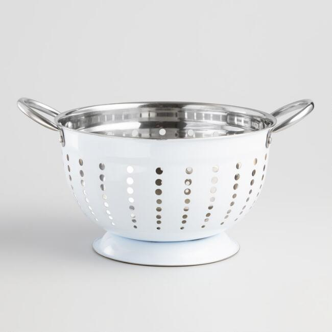 White Enamel Stainless Steel Footed Colander