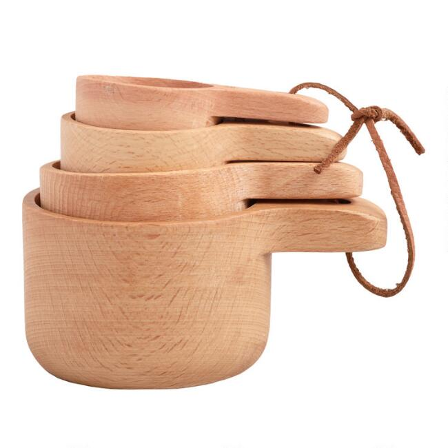 Natural Wood Nesting Measuring Cup Set