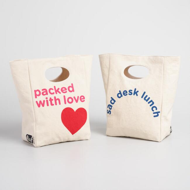 Love and Sad Desk Fluf Organic Cotton Lunch Bags Set of 2