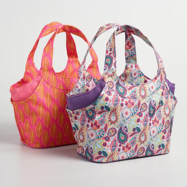 Paisley and Bean Print Jane Insulated Lunch Bags Set of 2