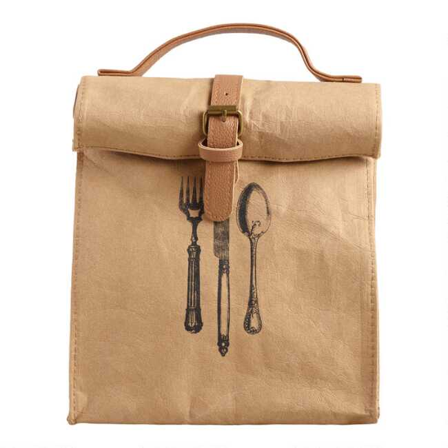 834747ebe209 Utensil Print Insulated Faux Paper Lunch Bag